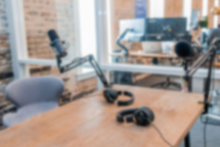 slightly blurred radio dj booth